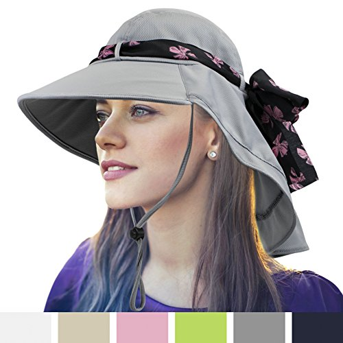 Price comparison product image Womens Sun Hat,  Summer UV Protection Outdoor Hat with Wide Brim,  Neck Cover Flap,  and Adjustable Chin Strap / UPF50 + Breathable Foldable Ladies Cap for Gardening,  Hiking,  Fishing (Grey)