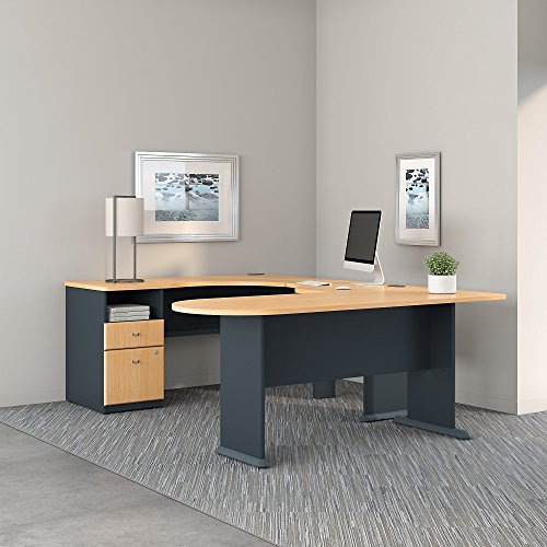 Series A U Shaped Corner Desk with Peninsula and Storage in Beech and Slate (Series U-shape Computer)