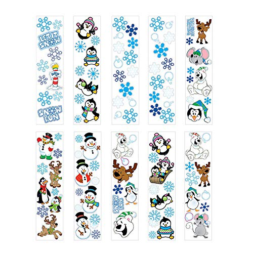 Fun Express 100 Winter Sticker Sheets ~ 8 to 14 Stickers Per Sheets ~ Sticker Size: 1/2