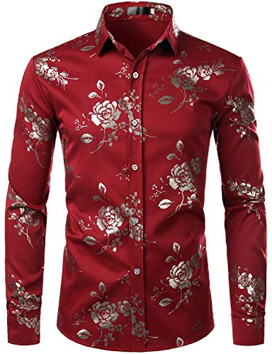 (ZEROYAA Men's Hipster Golden Rose Printed Slim Fit Long Sleeve Floral Party Dress Shirts ZZCL28 Burgundy X Large)