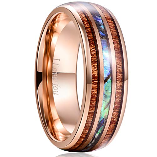 VAKKI 8mm Abalone Shell Tungsten Carbide Promise Ring Rose Gold Domed Wedding Bands Size 10.5