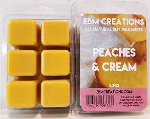 (Peaches & Cream - Scented All Natural Soy Wax Melts - 6 Cube Clamshell 3.2oz Highly)