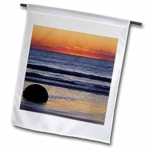 Danita Delimont - Sunsets - Sunset, Moeraki Boulder, Otago, South Island, New Zealand-AU02 DWA4857 - David Wall - 12 x 18 inch Garden Flag (fl_75374_1)