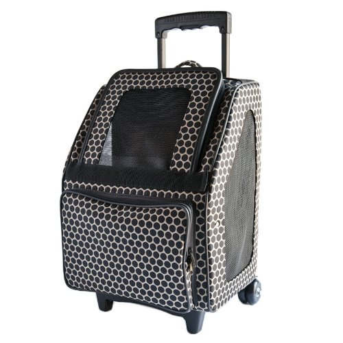 Petote Rio Bag On Wheels Pet Carrier, Reverse black Dots