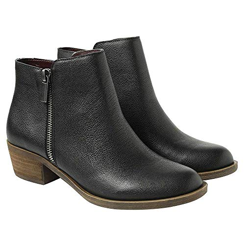 cada21b55436 kensie Women s Black Leather Ghita Short Ankle Boots (8.5)
