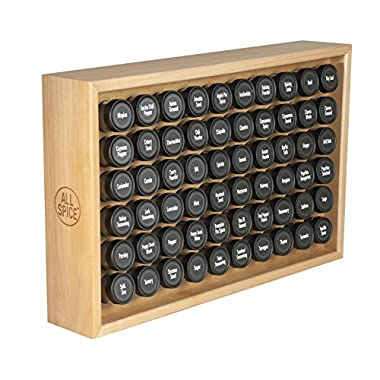 AllSpice Wooden Spice Rack, Includes 60 4oz Jars- Maple