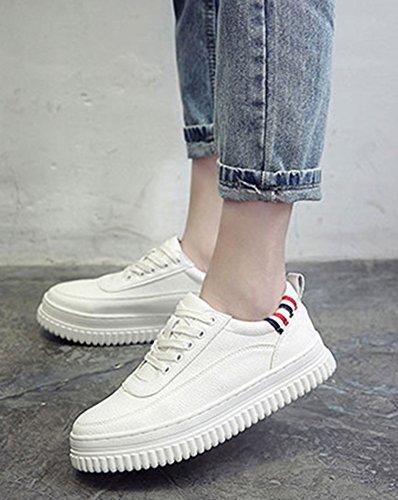 Talon Blanc Basses Bout Aisun Femme Fashion Baskets Plat Rond Ew1ITHq
