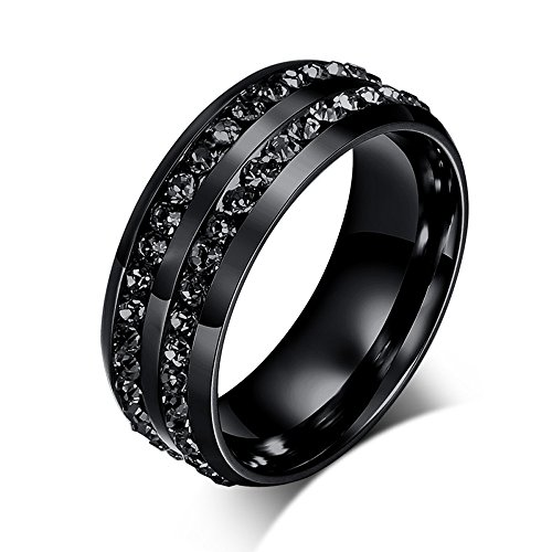 Unisex Anniversary Boys Black Stainless Steel Unique Double Inlay Diamond Rings Size 10