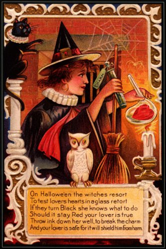 WITCH BLACK CAT BROOM OWL HALLOWEEN VINTAGE POSTER REPRO
