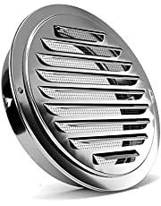 Stainless Steel Air Vents, PartsExtra Louvered Grille Cover Vent Hood Flat Ducting Ventilation Air Vent Wall Air Outlet with Fly Screen Mesh (6inch)