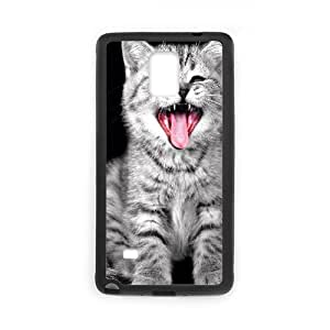 Samsung Galaxy Note 4 Case, Cat Yawning Case for Samsung Galaxy Note 4 {Black}