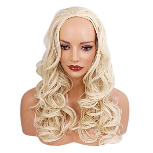 Ladies 3/4 Half Wig - Swedish Blonde - Wavy Style - 22 Inches - 250g - Kanekalon Synthetic Fibre - Clip In Hair Piece - Looks and feels like real hair by Elegant -