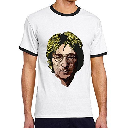 Men's Cool John Lennon Contrast Ringer Tshirt L -