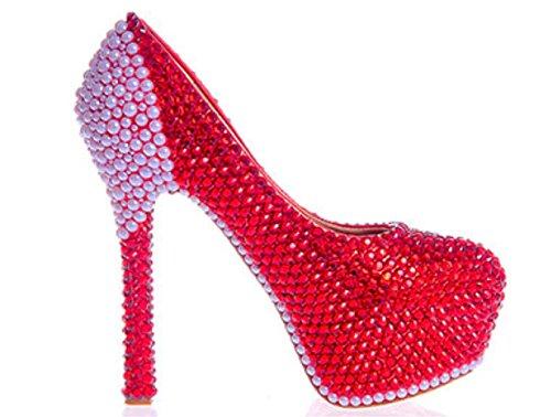 MNII Womens Crystal Rhinestones Pearl Bride Court Shoes Wedding Party Evening High Heel Platforms Rhinestones Crystal Lace Stiletto, 42, Good Quality