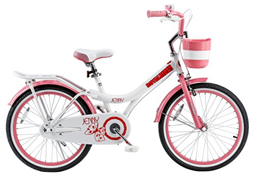 RoyalBaby Jenny Princess Pink Girl's Bike with Kickstand and Basket, White/Pink