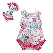 Baywell Baby Girl Romper Outfit Set, Sleeveless Floral Printed Bow-Knot Headband 2 PCs (L/6-12M/80, Pink2)