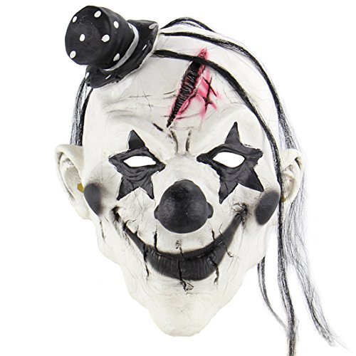 Halloween Mask, Horrific Demon Adult Scary Clown Mask Halloween Party Costume Decorations Creepy Latex Mask]()