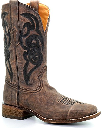 CORRAL Mens Embroidery Cowboy Boot Square Toe Brown 9 D IDlmwG