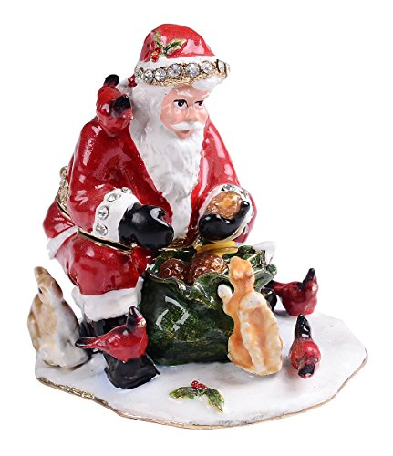 Treasures Jewelled Santa and The Squirrel enameled Trinket Box