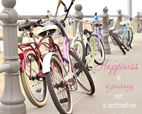 Inspirational Wall Art, Shabby Chic Beach Decor, Happiness Quotes Wall Decor, Happiness Wall Art, Happiness is a Journey Quote Art Print, Beach Cruiser Picture by Natural Photography Spa