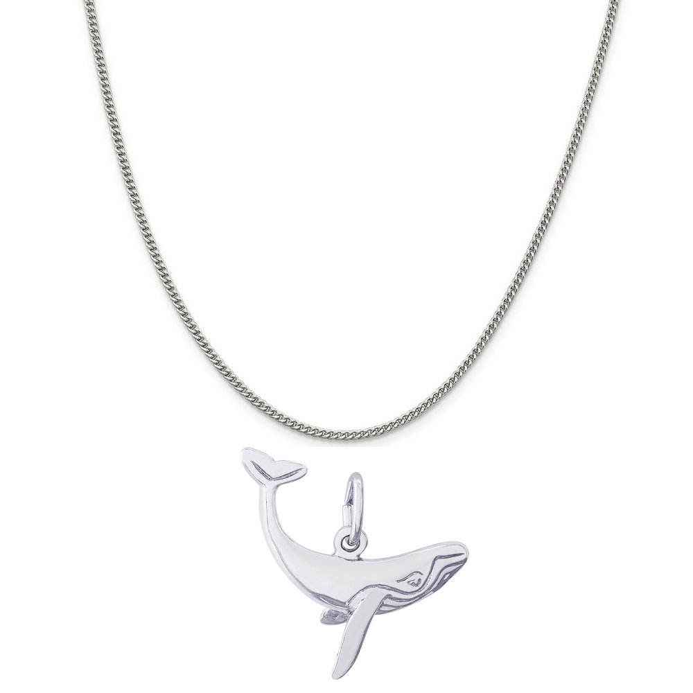 Rembrandt Charms Sterling Silver Humpback Whale Charm on a 16 Box or Curb Chain Necklace 18 or 20 inch Rope
