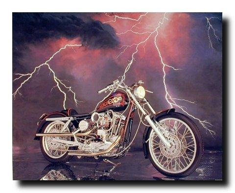 Vintage Motorcycle Wall Decor 1971 XLH Harley Davidson Sportster Art Print Poster (16x20)