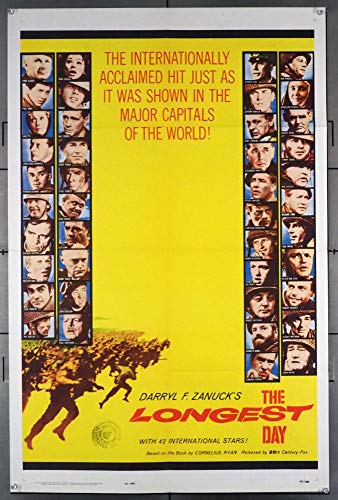 The Longest Day (1962) Original U.S. One-Sheet Movie Poster 27x41 Folded Normandy Invasion Epic directed by KEN ANNAKIN and ANDREW MARTON
