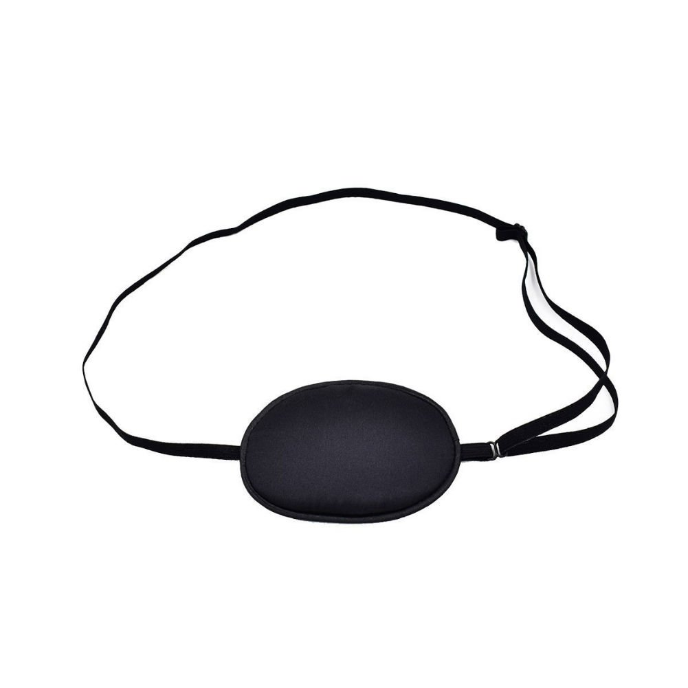 AKOAK 100% Mulberry Silk Pirate Eye Patch for Adult Men Boys to Reat Lazy Eye/Amblyopia /Strabismus - Not Light Leak, Smooth, Soft and Comfortable (Large, Black)