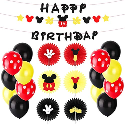 BeYumi Mickey Party Decoration Kit - Mickey Creatures Paper Fans, Happy Birthday Banner and Garland, Colorful Balloons, Mickey Themed Party Ideas for Kids Birthday, Wedding, 1st Birthday -