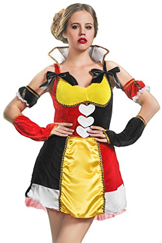 Adult Women Wonderland Monarch Costume Cosplay Role Play Queen of Hearts Dress Up (Small/Medium, Black, Red, Yellow, White, (Sexy Monarch Fairy Costumes)