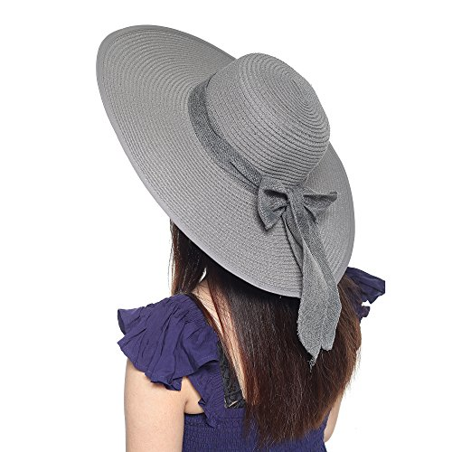 Women's Summer Wide Brim Beach Hats Sexy Chapeau Large Floppy Sun Caps (Bowknot Gray)