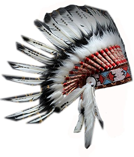 X53- Three colors Black and White indian Feather Headdress / native american Style (Feathered Headdress)