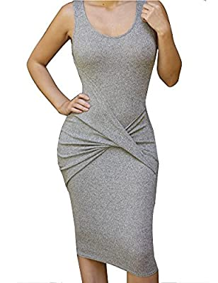 Allegrace Womens Sleeveless Sexy Bodycon Midi Bandage Party Evening Dresses