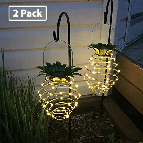 - Allytech 2 Pack Solar Garden Lights - Pretty Nice Waterproof LED Pineapple Garden Lights String Outdoor Decoration Solar Powered for Trees Plants Outdoors Home - Warm White