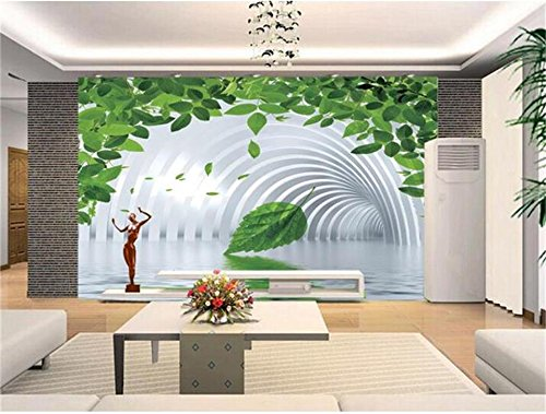 Yonthy 3D Mural Wall Sticker Wallpaper Green Vine Water Tunnel Painting Sofa TV Background Living Room Bedroom Decoration 300cmX240cm|118.11(in) ()