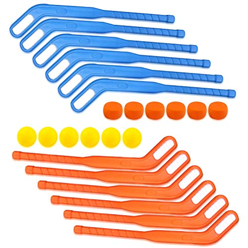 Liberty Imports Face Off Bulk Hockey Sticks Youth Sports Set for Kids Puck and Ball (6 Pack)