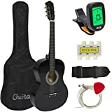 38' Black Acoustic Guitar Starter Package (Guitar, Gig Bag, Strap, Pick)