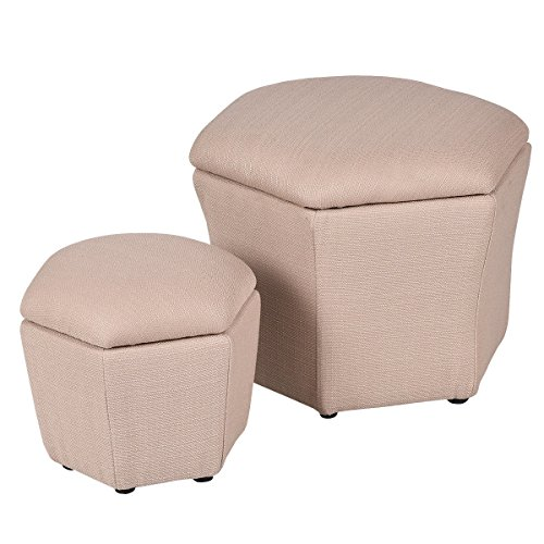 Set of 2 Ottoman Storage Box Seat Footstool Rest Bench Organizer New by Happybeamy