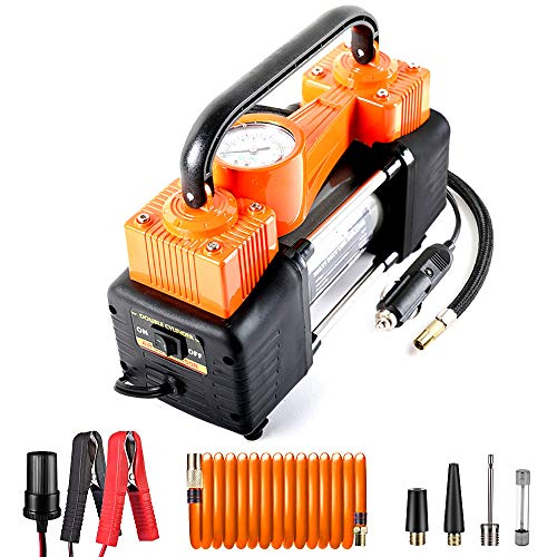 AutoVirazh Double Cylinder Portable Air Compressor for Car Tires: 12V Electric Car Tire Inflator Pump with Gauge, 150 PSI Small Compressor Tanks for Automobiles, Bikes & Inflatables