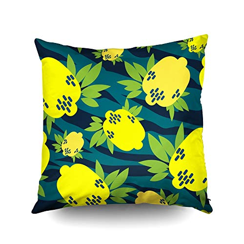 KIOAO Our Pillow Case,Square Throw Pillowcase Covers Standard Cheerful Cute Citrus Design with Citrus for Polygraphy Bright Print for Fabric Or Wallpaper Printed with Both Sides 16X16Inch ()