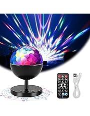 Discolichten, Yideng Bluetooth & afstandsbediening Geluidsgestuurde discobal Feestverlichting USB oplaadbaar 360 ° rotatie 6 RGB-kleuren Mini-stroboscooppodiumlicht voor feest Xmas Bar Club KTV