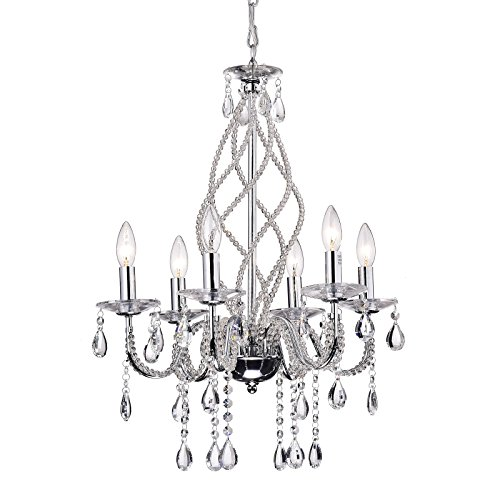 Edvivi Allecra 6-Light Vintage Chrome Finish Crystal Chandelier Ceiling Fixture Glam Lighting