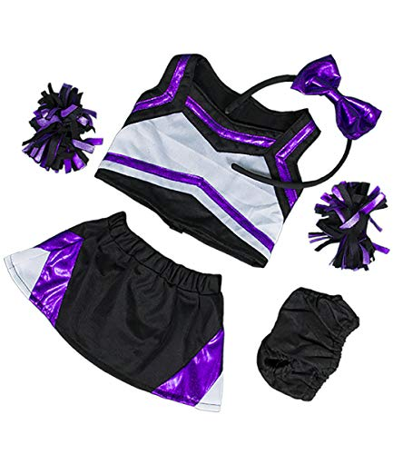 "Metallic Purple & Black Cheerleader Teddy Bear Clothes Fits Most 14""-18"" Build-A-Bear and Make Your Own Stuffed Animals	 from Stuffems Toy Shop"