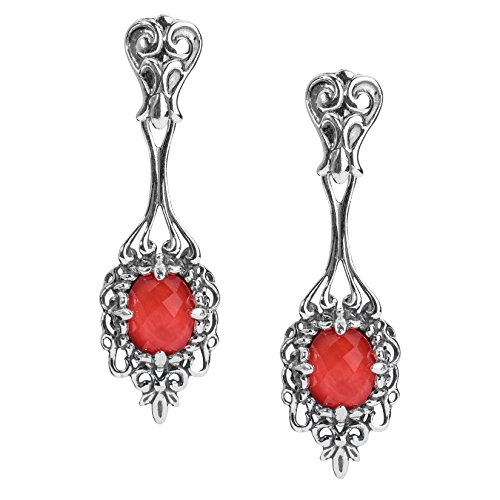 Sterling Silver Red Coral Doublet Gemstone Floral Filigree Drop Earrings ()