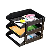 Office Organizer,SanPlus Leather Desk Document File Letter Organizer Tray,3 Tier Paper Magazine Storage Holder (Black)