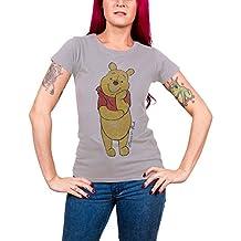 Winnie The Pooh T Shirt Classic Winnie Official Womens Grey Skinny Fit
