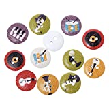 Souarts Random Color Musical Instruments Pattern Printed 2 Holes Round Wood Wooden Button Pack of 100pcs 15mm