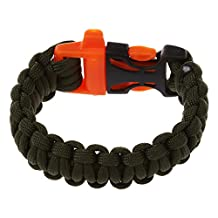 SODIAL(R) 11 Colors 550 Paracord Type III 7 Strand Parachute Cord Survival Bracelet + Whistle Buckle (Army Green)