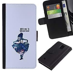Billetera de Cuero Caso Titular de la tarjeta Carcasa Funda para Samsung Galaxy Note 4 SM-N910 / Blue Kids Fairytale / STRONG