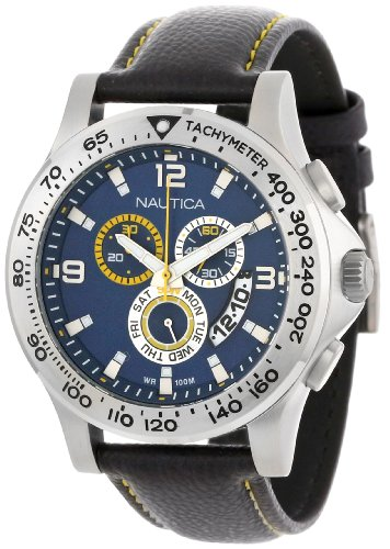 Dial Type Enamel (Nautica Men's N19608G NST 600 Chrono Carving Color Sport Classic Analog with Enamel Bezel Watch)